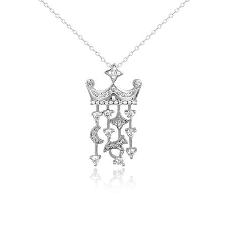 Silver fashion pendant isolated on white background Stock Photo