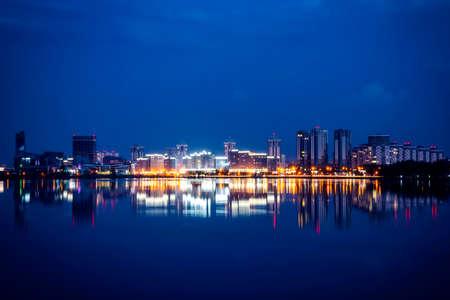 Cityscape of modern city at night 스톡 콘텐츠