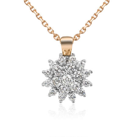 Genuine diamond necklace isolated on white background