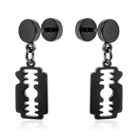 Black earrings isolated on white background 스톡 콘텐츠