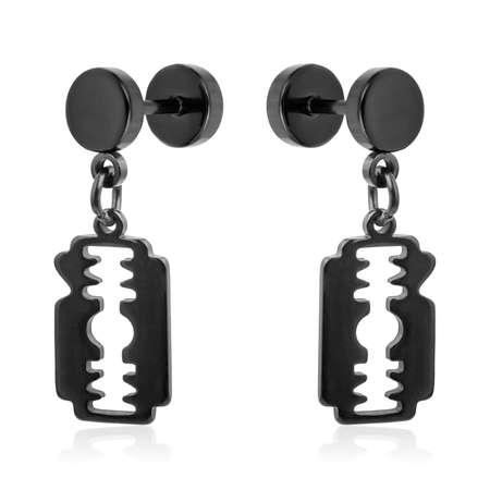 Black earrings isolated on white background Reklamní fotografie