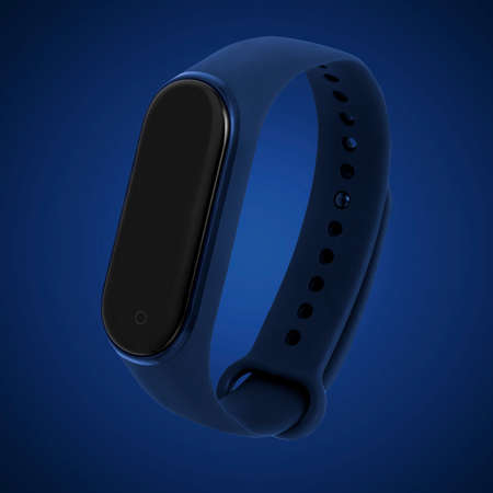 Fitness bracelet isolated on blue background