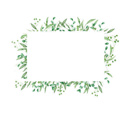 floral greenery card design: branch green leaves rectangle frame. Wedding invite poster invitation Watercolor hand drawn art illustration 版權商用圖片