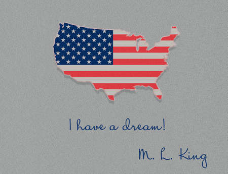 Martin Luther King Day illustration, I have a dream quote with USA flag waving flat design