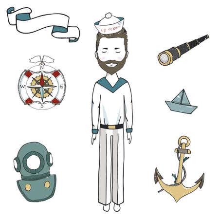 sailor digital art a sailor with a beard, a junta, a captain, a sailor, a boatswain, a sailor, a submariner, a stylish young fellow, a hipster digital art striped shirt white background Vector Illustration