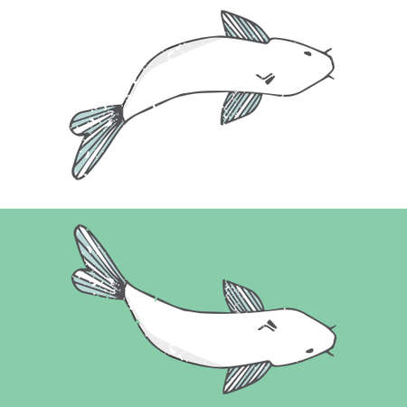 Vector fish catfish smile face funny shabby style vector color texture character drawing illustration white fish sea life drawing clip art river similar geometric on white background.