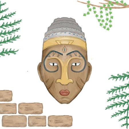 Mask aztec tribal mask, digital clip art