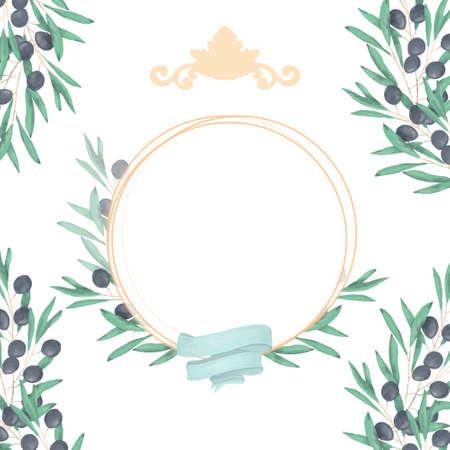 Wedding Invitation, floral invite card, olive floral and magnolia geometric golden circle frame print. White background Reklamní fotografie