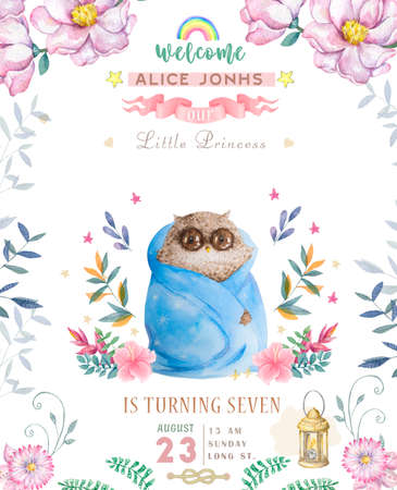 Watercolor cute Cartoon Owl. Cute baby greeting card. Boho flowers and floral bouquets Happy Birthday set. Watercolor greeting baby card on white background
