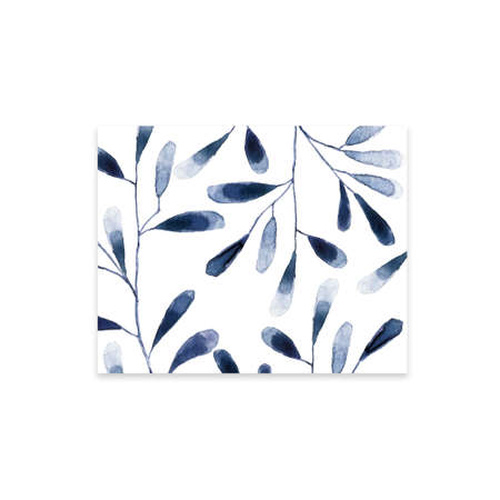 Squar Frame with blue and white hydrangea flowers on white background. Floral design for cosmetics, perfume, beauty care products. Can be used as greeting card, wedding illustration. Archivio Fotografico - 129158990