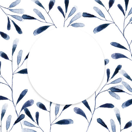 Circle Frame with blue and white hydrangea flowers on white background. Floral design for cosmetics, perfume, beauty care products. Can be used as greeting card, wedding illustration.