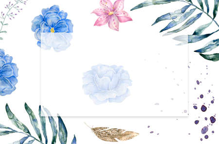 vertical banners with blue and white hydrangea flowers on white background. Floral design for cosmetics, perfume, beauty care products. Can be used as greeting card, wedding illustration