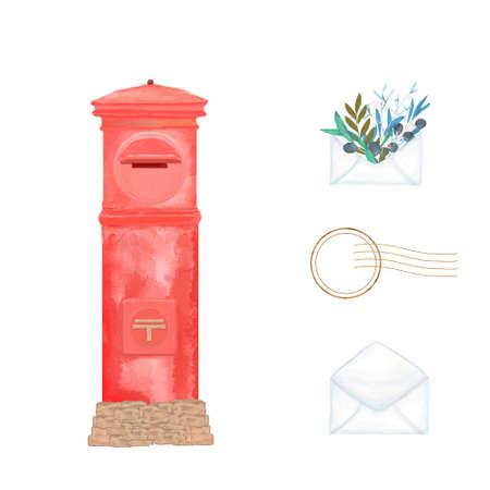 Vintage japan mailbox for letter. Retro style  brush illustration. Tokyo red color mail clip art on white .