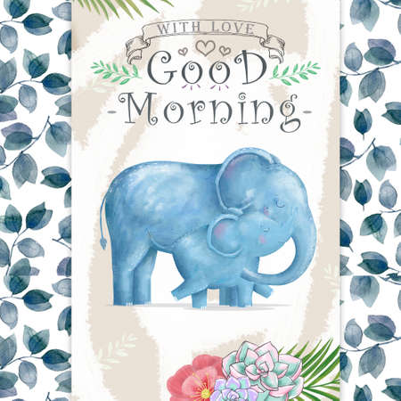Watercolor baby elephant and mother. Cute Elephants for greeting card, birthday, invite, mother day painting clip art on floral background. Archivio Fotografico - 129158997