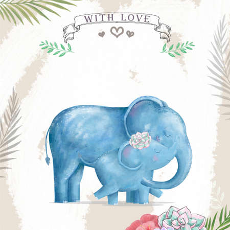 Watercolor baby elephant and mother. Cute Elephants for greeting card, birthday, invite, mother day painting clip art on floral background. Archivio Fotografico - 129158998