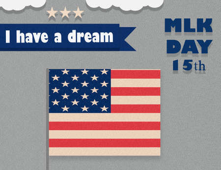 Martin Luther King Day illustration, I have a dream quote with USA flag waving flat design.