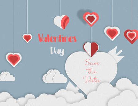 save the date paper art design. Heart balloon and clouds. Lovely day. illustration