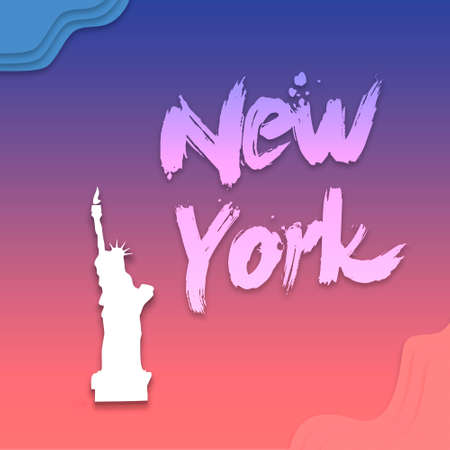 New York hand written lettering for card, flat clip art Modern brush calligraphy. Isolated on . illustration on gradient Flat clouds design Modern futuristic template.