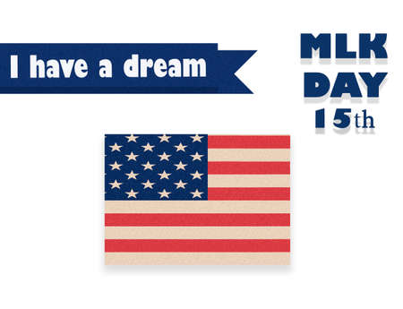Martin Luther King Day illustration, I have a dream quote with USA flag waving. Stock Photo