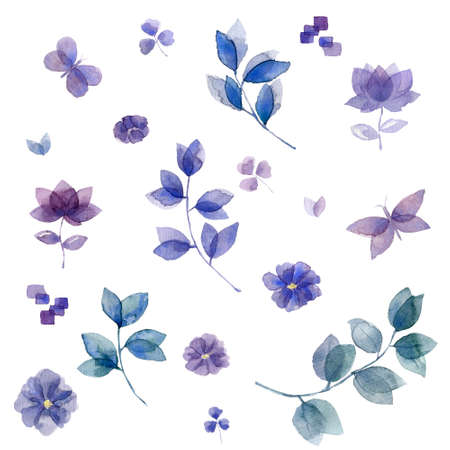 Indigo blue turquoise watercolor hand painted floral leafs and flowersfor design, gift card, weeding, celebration on white background. Archivio Fotografico - 129159024