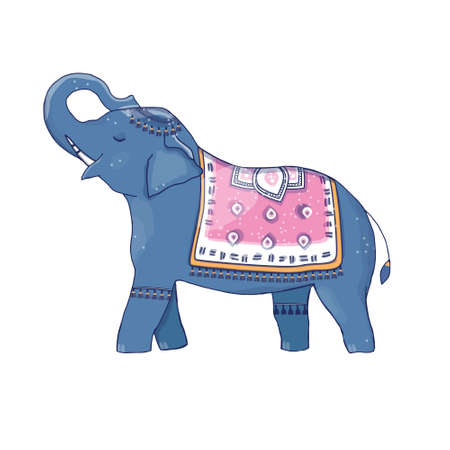 Elephant and poncho clip art character drawing illustration color blue pink