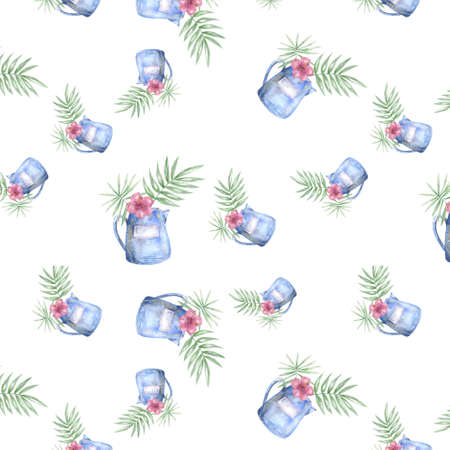 Tropical pattern with exotic palm leaves