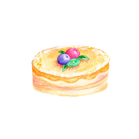 Cake watercolor food gouache clip art drawing illustration coffe deseret geometric tasty pie on background