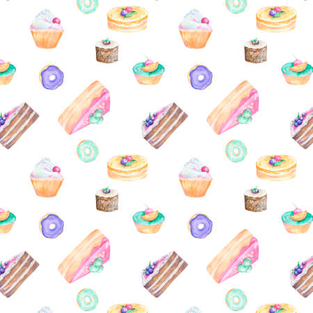 Cake piece watercolor flour food gouache pattern drawing illustration brown cottage cheese coffe deseret blueberries geometric pink pastry tasty pie cranberry sugar glaze on white background Stock Illustration - 119370431