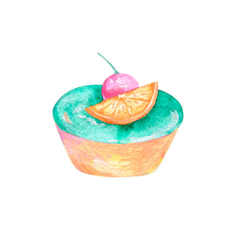 Cake watercolor food gouache clip art drawing illustration coffe deseret geometric tasty pie on background Stock Illustration - 118221407