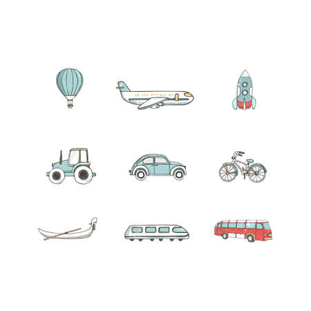 Transport 8 icons. Trasportation Vintage Flat color Concept. Airplane, car, bike. Hand drawn illustration, grunge style texture clip art on white background.