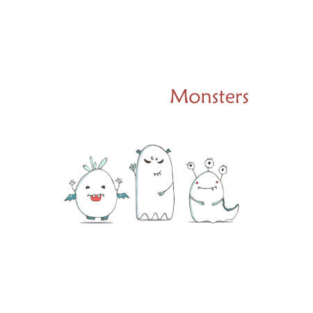 Set of cute happy white monster. Hand drawn illustration fluffy cartoon clip art on white background.