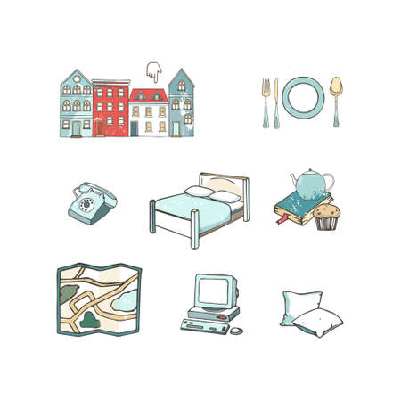 Abstract icons set of planning a vacation, traveling on holiday journey, and passenger luggage. Unusual flat design line icons set hand drawn clip art vector illustration concept grunge texture.