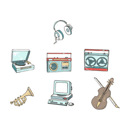 Vintage audio players. Music record. Cartoon in retro style with grunge textures and rust effect. Hand drawn clip art