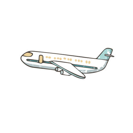 Hand drawn Airplane. Cartoon airbus illustration, grunge style texture on white background, isolated clip art.