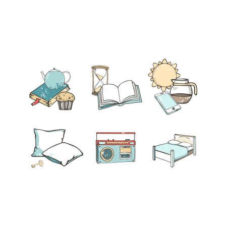 Hostel set of vector flat icons. Travel kit hand drawn illustration gringe texture, isolated background.