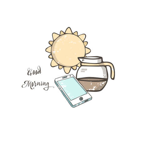 Hand drawn illustration phone and awesome fresh coffee in with a bright orange yellow sun in the background good morning concept illustration grunge texture clip art.