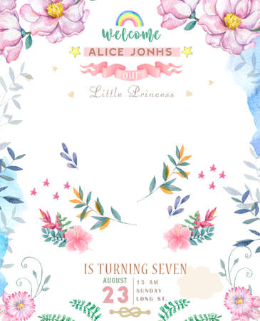Wedding invitation or card with pink floral background. Greeting postcard. Elegance pattern with flower illustration for birthday