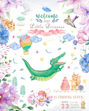 Happy birthday card with cute Croc Dandy Watercolor animal. Cute baby greeting card. Boho flowers and floral bouquets Happy Birthday set. Watercolor greeting baby clip art on white background
