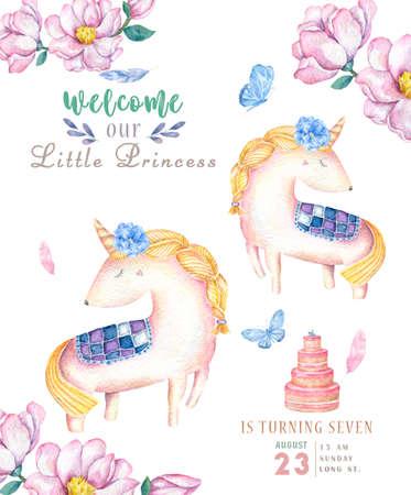 Watercolor isolated cute watercolor unicorn clipart. Nursery unicorns illustration. Princess unicorns poster. Trendy pink cartoon horse. Birthday invite card