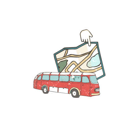 Vector illustration hand deawn flat icon of lbus with map. Navigator style for travel. Grunge texture. Bus pont for tourism Stock Illustratie