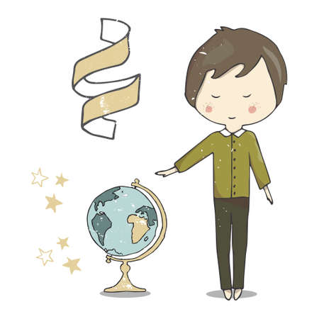 Boy in shirt character clip art globe ribbon stars travel education for celebration greeting birthday text data geography color set white background
