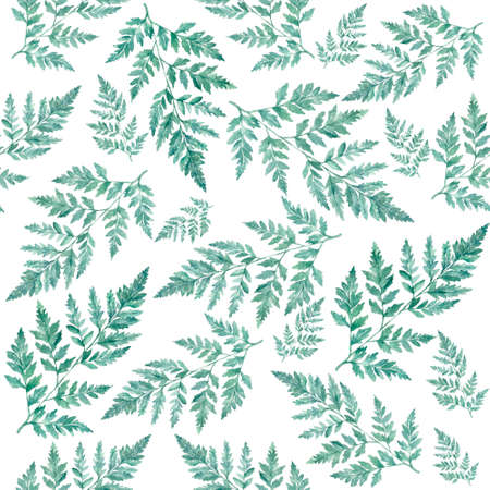 Watercolor floral pattern foliage natural branches, green leaves, herbs, tropical plant hand drawn watercolor illustration, fresh beauty rustic eco friendly background on white.