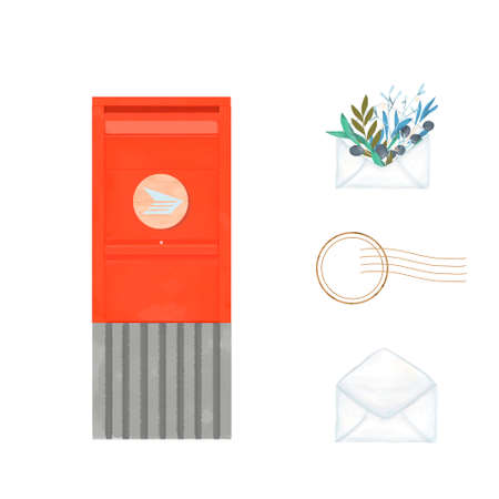 Red color Canada Post mailbox watercolor brush illustration. Vintage clip art modern city box for letter on white background. Stock Photo