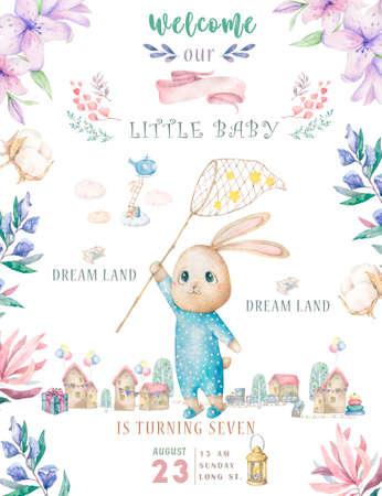 Leuke gelukkige verjaardagskaart met cartoon Bunny. Aquarel konijn illustraties en schoonheid boho roze bloemen, bloemen. lamp licht en blad voor Happy Easter op witte achtergrond.