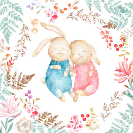 Two cute Rabbits and cotton. Watercolor Easter art print. Hand drawn illustration. Beauty cartoon bunny with flowers and floral, greeting card, birthday, invite white background.
