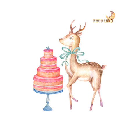 Watercolor deer with green bow and tasty cake on table cute greeting cards for invite, birthday, Valentines day, new year, Christmas on white background.