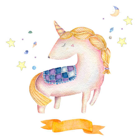 Unicorn watercolor and flower pink unicorn beautiful animal cute pony little horse clip art drawing magic illustration fantasy birthday greeting card print ribbon geometric on white background. Banco de Imagens