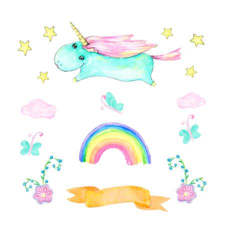 Unicorn watercolor gouache pink unicorn beautiful animal pony little horse clip art drawing magic unicorn illustration fantasy horn geometric on background