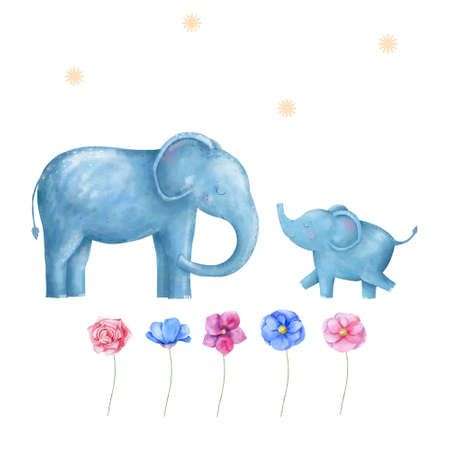 Elephants and flowers for design card clip art digital animal of africa cute drawing character funny kid style on white background watercolor