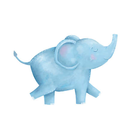 Elephant clip art digital animal cute drawing character funny kid style on white background. Фото со стока